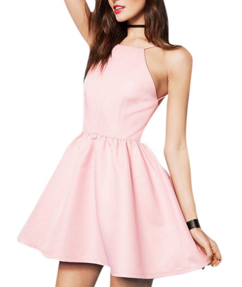 Enlishop Women Junior Sleeveless Pleated Neck Halter Fit and Flare Prom Summer Dress XS Pink