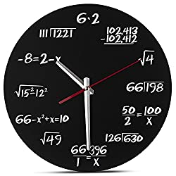 Besplore Math Wall Clock,Unique Wall Clock,Each Hour Marked By a Simple Math Equation,Metal,12.6 Inch,Black and White