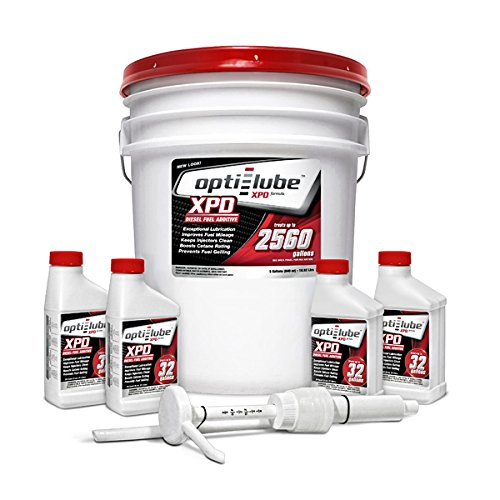 Pail Hand Pump (Opti-Lube XPD Formula Diesel Fuel Additive: 5 Gallon Pail with Accessories (1 Hand Pump & 4 Empty 8oz bottles) Treats up to 2,560 Gallons)
