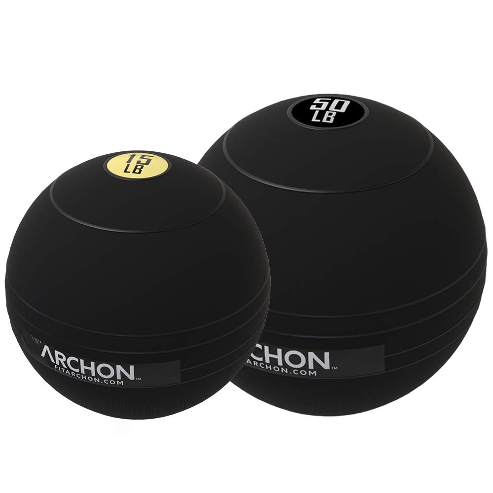 ARCHON Training 15 LB and 50 LB Pound Slam Ball Set | Crossfit Workout | No Bounce Exercise Ball | Gym Equipment Accessories | Plyometric Exercise | Cardio | Jam Ball | Squats | Medicine Ball