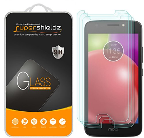 [3-Pack] Motorola Moto E4 Tempered Glass Screen Protector, Supershieldz Anti-Scratch, Anti-Fingerprint, Bubble Free, Lifetime Replacement Warranty