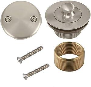 Brass Conversion Kit BathTub Tub Drain Assembly Brushed Nickel