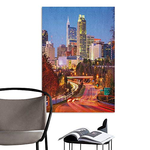 Jaydevn Home Decor Decals Mural United States Raleigh North Carolina USA Express Way Business District Building Skyscrapers Multicolor Stair Elevator Side W16 x H20 -