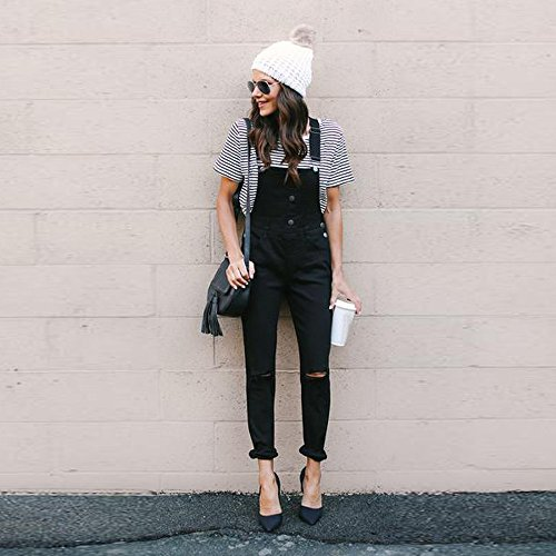 Lqqstore Denim Donna jeans Nero Pantaloni Casuale Bottoni donne Tuta Sciolto Calzamaglia Strappato Bavaglino Buco qwBqnrfA6
