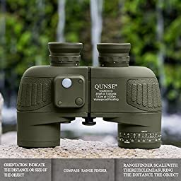 QUNSE Military HD Binoculars for Bird Watching, Compass and Rangefinder, 10x50 Large Object Lens Large View BAK4, with Binocular Harness Strap, Waterproof