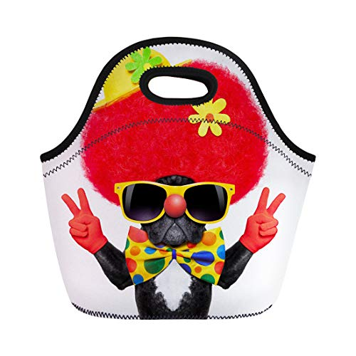 Semtomn Lunch Tote Bag Colorful Silly Dog Wearing Clown Costume Peace Victory Fingers Reusable Neoprene Insulated Thermal Outdoor Picnic Lunchbox for Men Women ()
