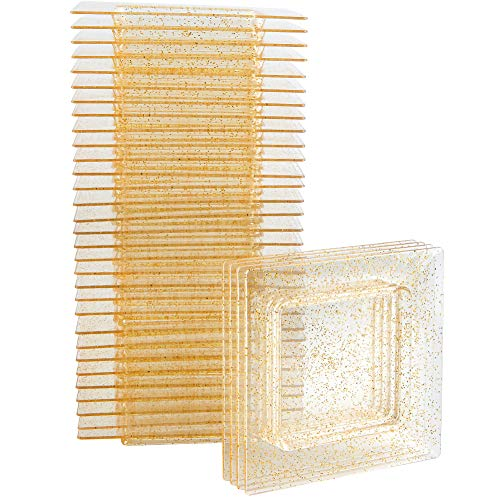 WDF 102Pack Gold Glitter Square Mini Plates-3inch Small Dessert Plates Perfect for Parties &Wedding