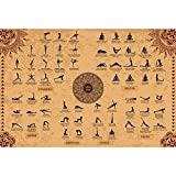 The Mindful Word Yoga Poses Poster (24x36 Inches) - Canvas Fabric Yoga Asana Poster with 62 Beginner & Intermediate Yoga Asanas/Stretches/Positions - Posture Names in Both English and Sanskrit