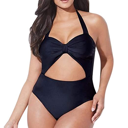 032341b4ae RAINED-Women Plus Size One Piece Bikini Sexy Hollow Out Bathing Suit Solid  Color Swimsuit