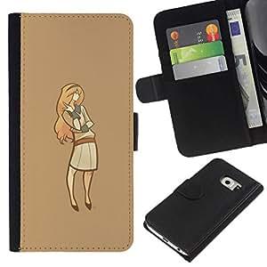 // PHONE CASE GIFT // Moda Estuche Funda de Cuero Billetera Tarjeta de crédito dinero bolsa Cubierta de proteccion Caso Samsung Galaxy S6 EDGE / Minimalist Lady /