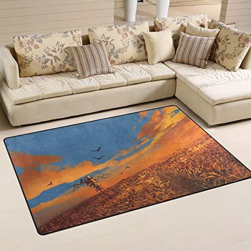 ALAZA Happy Halloween Area Rug,Fall Harvest Corn Field Scarecrow Floor Rug Non-Slip Doormat for Living Dining Dorm Room Bedroom Decor 60x39 Inch