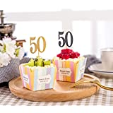 DYIXIN 50th Cupcake Toppers Gold & Black 50 Pieces Each Color 25 PCS for 50th Birthday/Anniversary Party Decoration