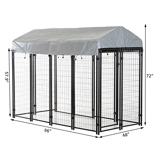 PawHut 97'' x 46'' Outdoor Galvanized Metal Dog Kennel Playpen with UV and Water Resistant Tarp Cover by PawHut (Image #6)