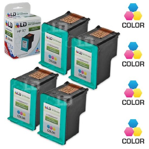 LD Remanufactured Replacements for HP 97 C9363WN Pack of 4 Color Ink Cartridges for DesignJet 5940, DeskJet 5740, 5940, 6540, OfficeJet 100, 7210, K7103, PSC 1600, 2355, PhotoSmart 2605, 320, (C9363wn Color Ink)