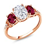 10K Rose Gold 3-Stone Ring Forever Classic Oval 1.50ct (DEW) Created Moissanite by Charles & Colvard and Created Ruby