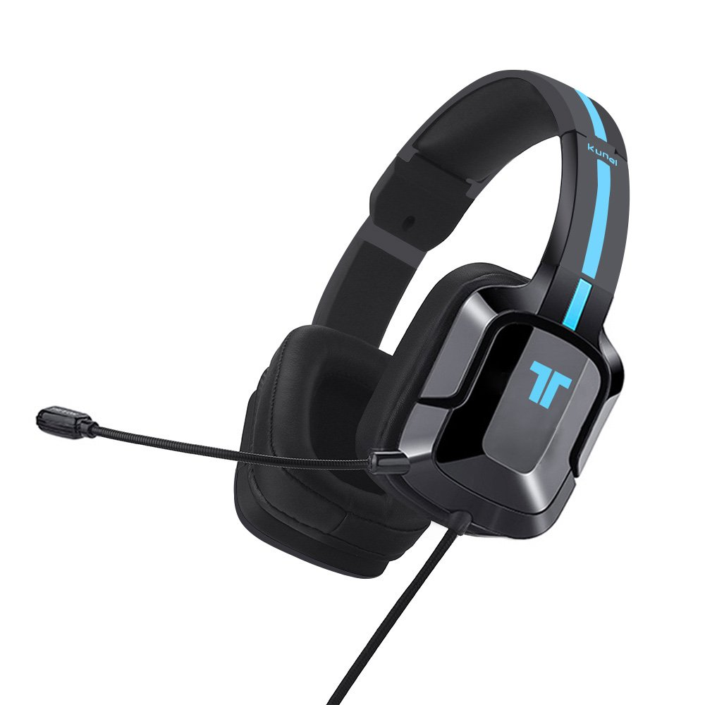 TRITTON kunai plus [Upgraded with OVER-EAR Ear Cups] gaming Headset, Xbox one Headset with mic, for for PlayStation 4, PS Vita, and Mobile Devices(Black-Blue)
