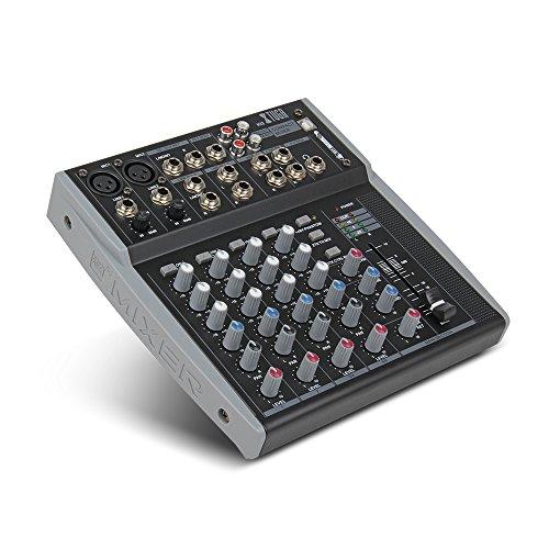 [해외] Xtuga MX8 8Channels 3밴드EQ오디오 뮤직 믹서USB XLR LINE입력 믹서 콘솔DJ믹서DJ스테이지 컬러오케용48V팬다무전원 (MX8)