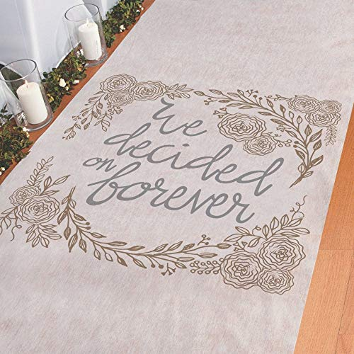Fun Express Aisle Runner for Weddings - We Decided on Forever, Perfect for Indoor, Outdoor, Beach Weddings - Polyester 3'X100' ()