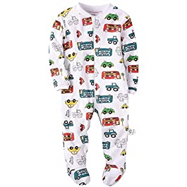 Baby Boys Footed Pajamas Organic Cotton Zip Front Sleep and Play Long Sleeve Sleeper 0-24 Months
