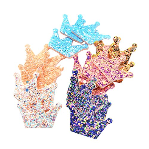 Homyl 20 Pieces Korean Style Felt Crown Sequin Appliques Flatback Embellishment for Scrapbooking Card Making Crafting DIY Hair Accessories Findings