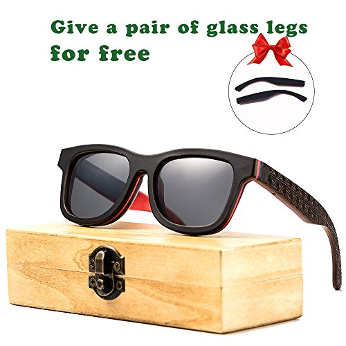 Wood Bamboo Sunglasses for Men or Women Polarized Lenses Wayfarer Style (black, - Sunglass Cases Custom