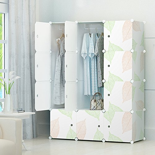Portable Clothes Closet Wardrobe by KOUSI-Freestanding Storage Organizer with doors , large space and sturdy construction. White-12 cube (Bedroom Closet Wardrobe)