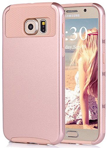 S6 Case, Eraglow Heavy Duty Rugged Shockproof Armor Holster Defender Slim Protective Hard Soft Rubber Bumper Case Cover For Samsung Galaxy S6 (rose gold)