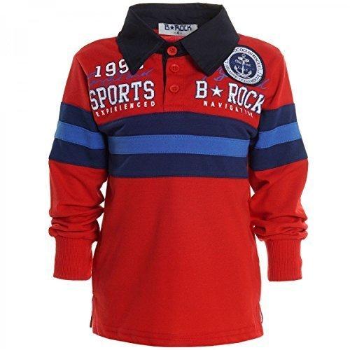 Kinder Langarm Shirt Pullover Polo Shirt Longsleeve Sweat Shirts T Shirt 20445, Farbe:Rot;Größe:104