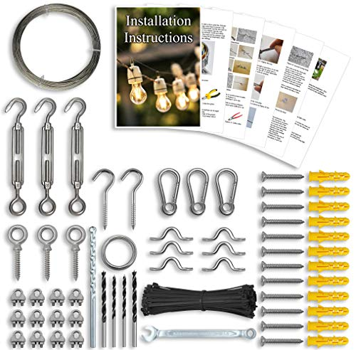 String Light Hanging Kit - Hardware for String Light Suspension, Outdoor Lighting, Lanterns, Globes Etc. Guide Wire Rope with Turnbuckles and Hooks. 164Ft Cable and Parts Made From Stainless Steel 316