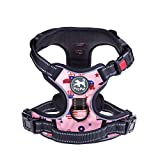 No Pull Dog Harness, Printed Pattern Pet Harness, Reflective Vest Harness with 2 Leash attachments and Easy Control Handle for Small Medium Large Dogs (Pink,Medium)
