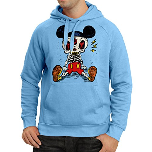 Hoodie Mouse Skeleton Halloween party outfits Trick or Treat Death Skull design (Large Blue Multi Color)