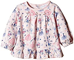 Pumpkin Patch Baby Girls\' Long Sleeve All Over Print Bow Top In Pink, Crystal Pink, 0-3 Months