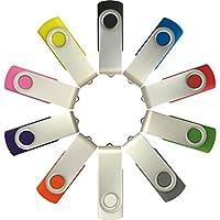 Unidad de memoria USB Enfain de 8GB Unidades a granel en el pulgar Unidad de salto giratoria MultiColor Unidades de memoria con cremallera Unidades 10, con indicador LED, más 12 etiquetas de marcas extraíbles (USB 2.0, 8 GB, 10 colores surtidos)