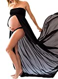 JustVH Maternity Chiffon Off Shoulder Front Split Pregnancy Gown Maxi Photography Dress