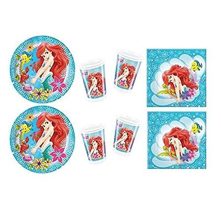 Ariel - Addobbi per Festa di Compleanno - Kit Coordinato Tavola Ariel la Sirenetta - Piatti, bicchieri e tovaglioli