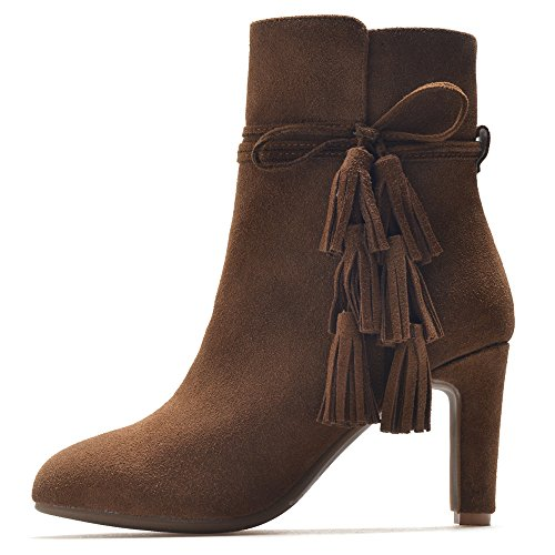Toe Handmade Ankle Round Booties Brown Tassels Block Leather Heel Suede Women's Elegant Seven Nine qPxXSS