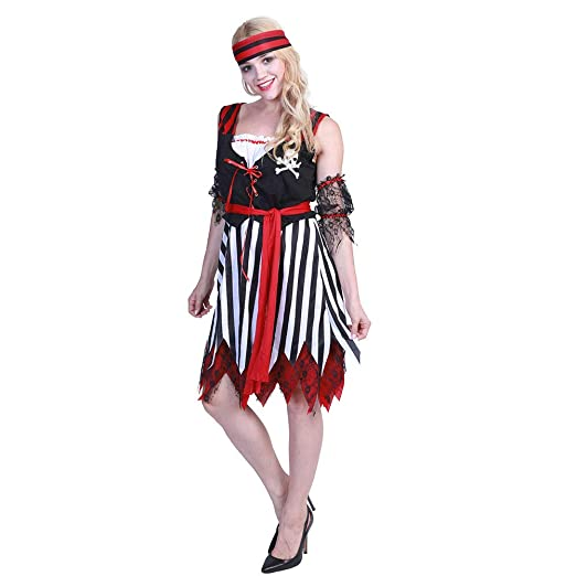 CAGYMJ Dress Party Ropa De Mujer,Disfraz Pirata Roja Falda Corta ...