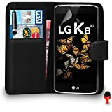 LG K8 Case - Premium Leather BLACK Wallet Flip Case Cover Pouch with Mini Touch Stylus Pen RED Dust Stopper Screen Protector & Polishing Cloth SVL1, (WALLET BLACK)