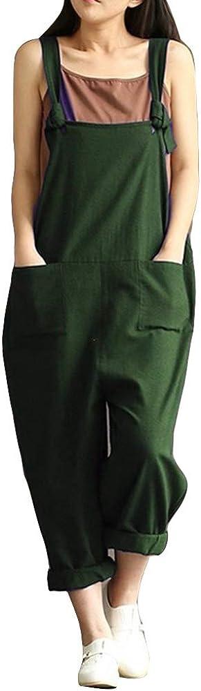 Salopette R/étro pour Femme Combinaison Ample sans Manches Jumpsuit Playsuit