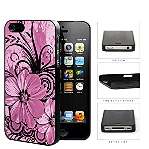 Pretty Floral Abstract Art (PINK) iPhone 4 4s Hard Snap on Plastic Cell Phone Cover