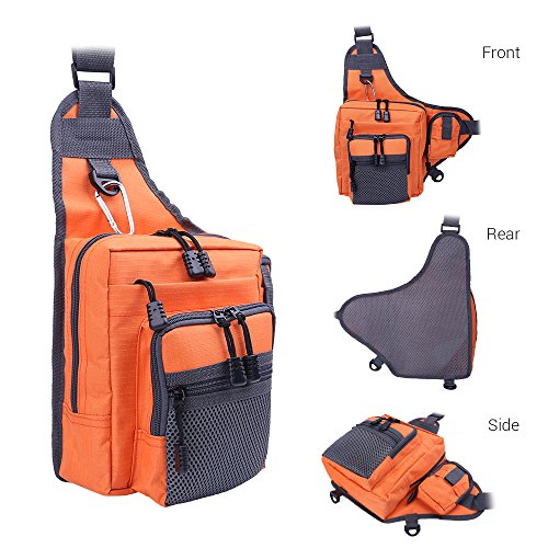 Fishing Backpack & Fishing Tackle Bag for Surf Fishing and Bank Fishing Anglers Easy Portable Tackle Storage –Great Works as Messenger bag and Sling Bag (Orange) - Orange Fishing Tackle Bag