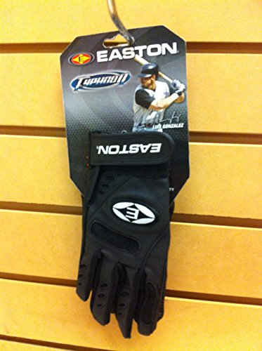 (Easton Typhoon Batting Gloves - Youth - Black/Black)