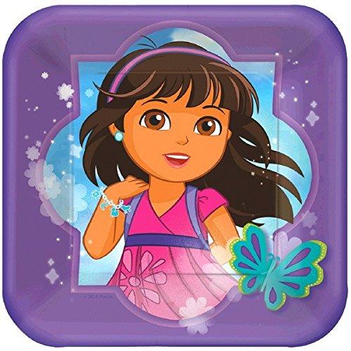 [Amscan Dora and Friends Square Dessert Plates, Multicolor] (Dora Costume For Kids)