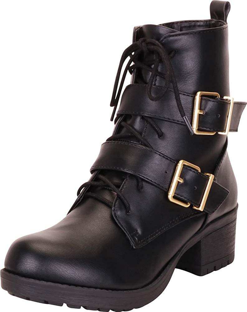 Black Pu Cambridge Select Women's Strappy Buckle Lace-Up Stacked Block Heel Moto Combat Boot