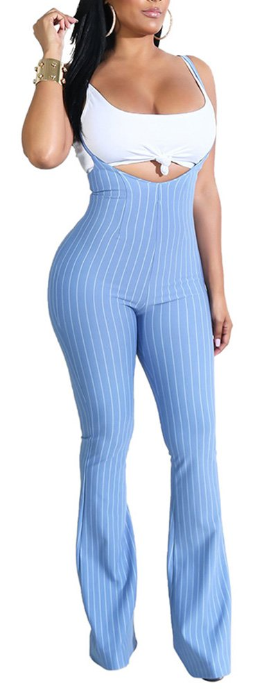 Rela Bota Women's Spaghetti Strap Stripe Bodycon Overalls Jumpsuits with Vest Small Blue