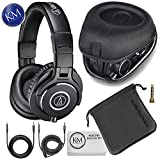 Audio-Technica ATH-M40x Professional Studio Monitor Headphones + Slappa Full Sized HardBody PRO Headphone Case (SL-HP-99)