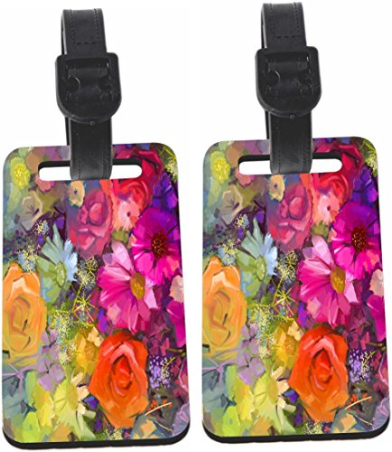 Price comparison product image Rikki Knight Daisy Gerbera Flowers Painting Luggage Identifiers with Strap(x2)