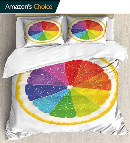 Rainbow Full Queen Duvet Cover Sets,Half of a Citrus Fruit with Rainbow Colors Inside Natural Flavors Grapefruit Orange 100% Cotton Reversible 3 Pieces Kids Girls Boys Bedding Sets 104