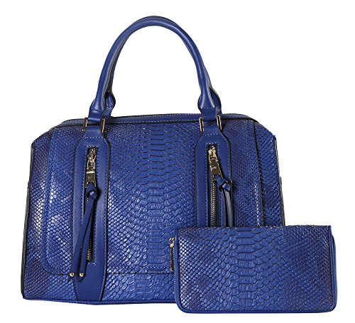 rimen-co-double-front-zippers-animal-print-tote-with-mataching-wallet-sw-3614-blue