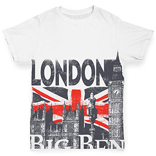TWISTED ENVY All Over Print Baby T-Shirt London Big Ben and Union Jack White 18-24 Months (London Us T-shirts Flag)